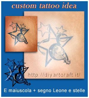 Maiuscola E stilizzata con segno del leone e stelle