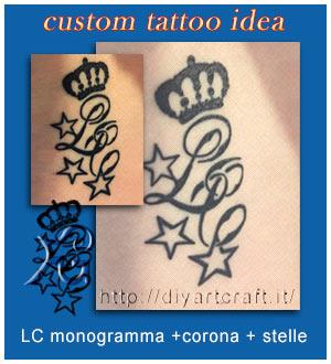 LC monogramma con corona e stelle