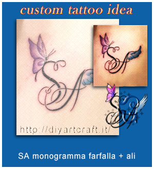 SA monogramma con farfalla e ali d'angelo