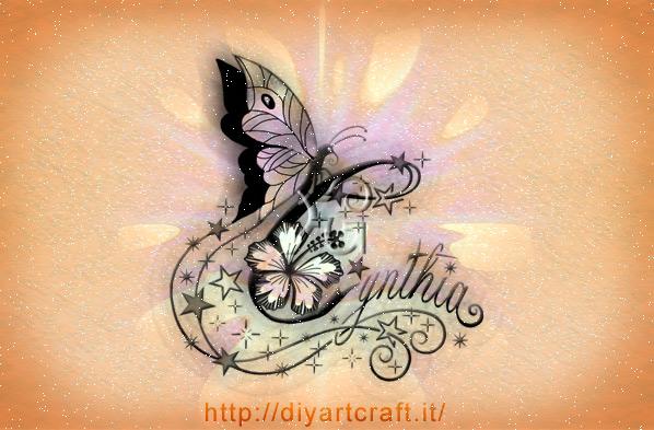 Nome femminile Cynthia disegno tattoo
