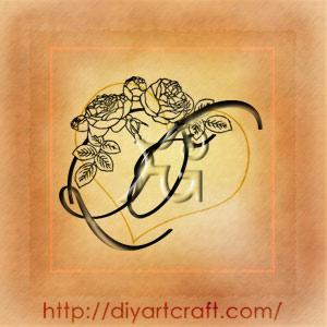 Monogramma floreale CS rose e boccioli