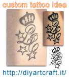 Custom tattoo idea: Corona e stelle acronimo LC disegno e foto