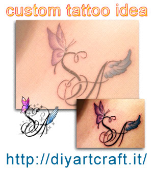 Monogramma SA farfalla e ali disegno personalizzato