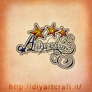 Alekso-andros nome maschile stilizzato con stelle