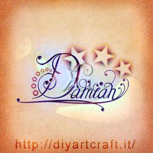 Damian nome maschile stilizzato con stelle