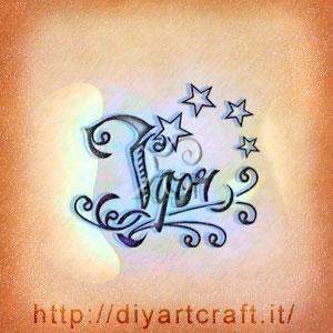 Igor nome maschile stilizzato con stelle