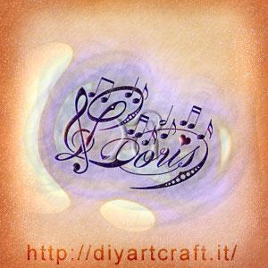 Loris nome maschile stilizzato con note musicali