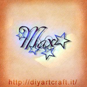 Max nome maschile stilizzato con stelle