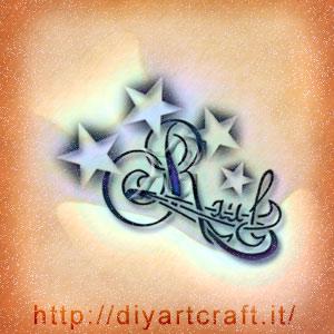 Raul nome maschile stilizzato con stelle