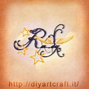Rudy nome maschile stilizzato con ali e stelle