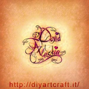La coppia di nomi David e Alessia disegnata in stile calligrafico tra riccioli fantasiosi e una coccinella per un tattoo romantico.
