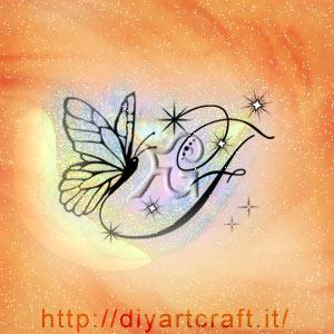 Farfalla e maiuscola F con scintille