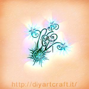 Disegno astratto lettere misteriose NEV stilizzate con sole e stelle in composizione monocroma.