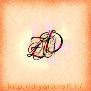 Monogramma unisex ZD lettere corsive
