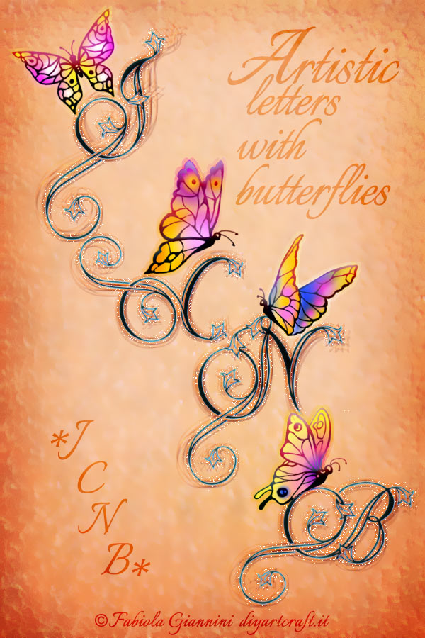 J - C - N -B disegni stile calligrafico nel Poster con singole maiuscole decorative e farfalle a colori.