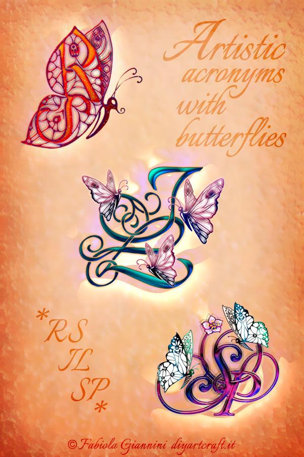 Poster dedicato ai monogrammi RS - IL - SP in 3 disegni stile calligrafico con farfalle colorate.