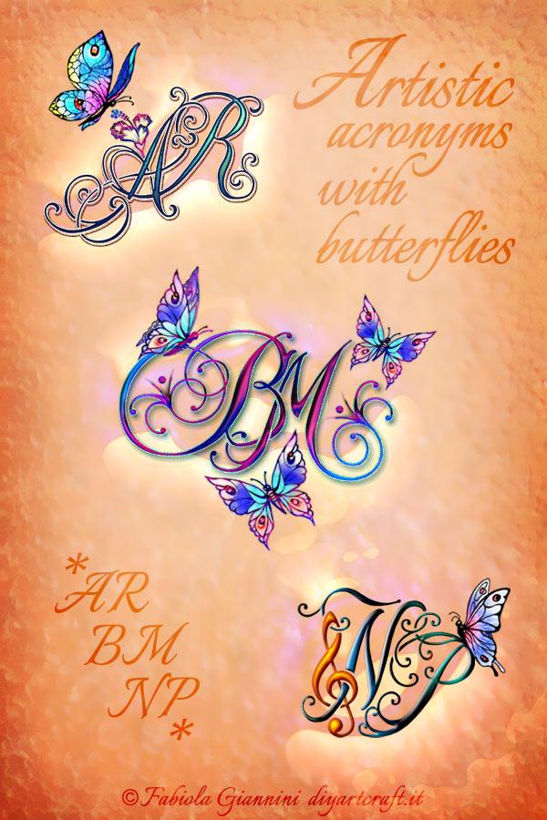 Monogrammi AR - BM - NP nel grande poster lettere intrecciate con farfalle stilizzate a colori.
