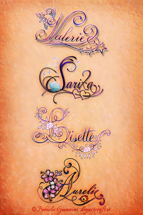 Poster con i nomi di donna Valerie - Sarika - Lisette - Aurelie disegnati in stile calligrafico con simboli grafici a colori.