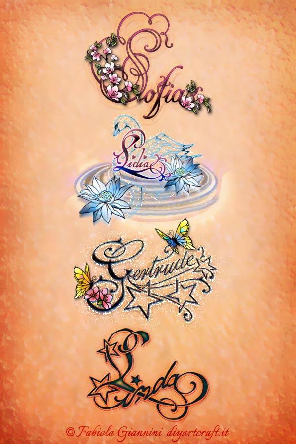 Poster con i nomi di donna Sofia - Lidia - Gertrude - Linda disegnati in stile calligrafico con simboli grafici a colori.