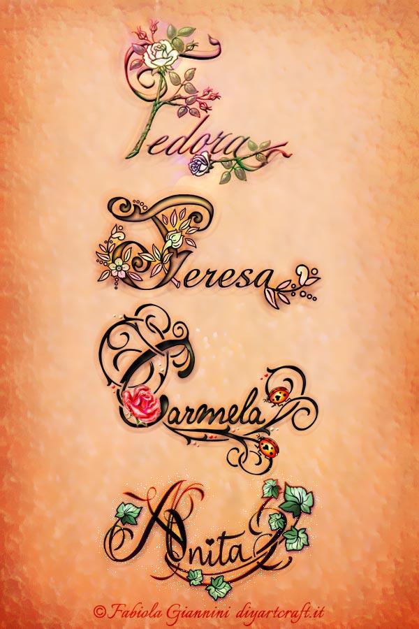 Poster con i nomi di donna Fedora - Carmela - Teresa - Anita disegnati in stile calligrafico con simboli grafici a colori.