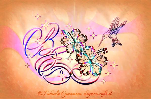 Lettere intrecciate BE su simbolo infinito con hibiscus e colibrì