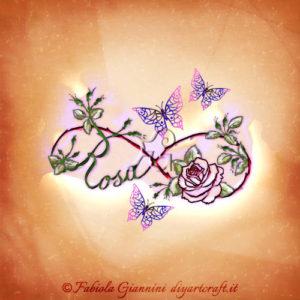 Simbolo infinito floreale con farfalle: illustrazione con nome Rosa