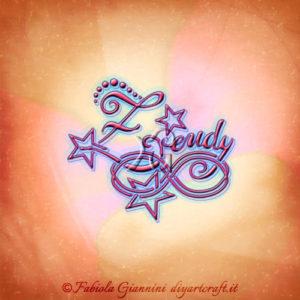 Disegno nome Zeudy intrecciato sul simbolo infinito