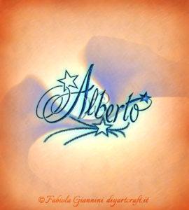 Composizione elegante in stile calligrafico: nome Alberto