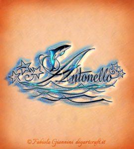 Onde stilizzate e delfino sul nome maschile Antonello