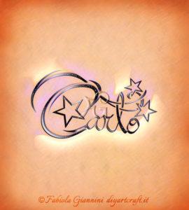 Scrittura calligrafica con decorazione di stelle: nome Carlo
