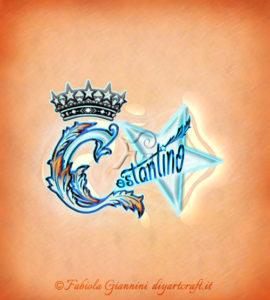 Elaborazione artistica con corona e stella sul nome Costantino