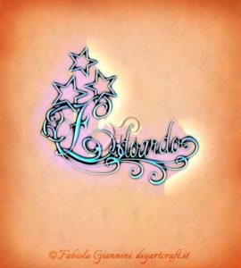 Soggetto decorativo con riccioli e stelle: nome Edoardo