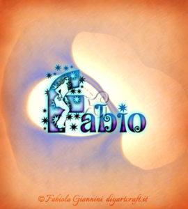 Lettere decorative: nome Fabio con scintille e figura stilizzata