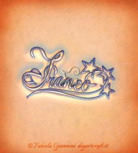 Illustrazione decorativa con stelle scontornate: nome maschile Franco