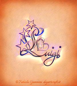 Stelle grafiche sulla iniziale maiuscola del nome Luigi: disegno stilizzato