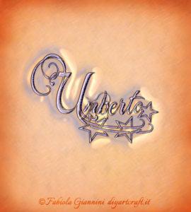 Disegno del nome Umberto in stile calligrafico con stelle
