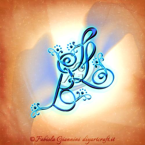 Maiuscole intrecciate BSL stile calligrafico stemma di famiglia