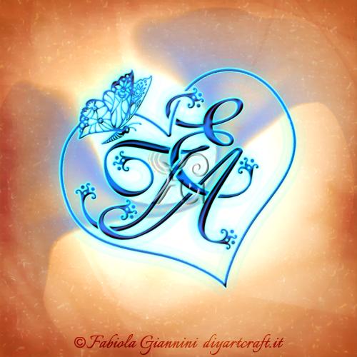 Trittico maiuscole intrecciate TEA stemma di famiglia cuore e farfalla