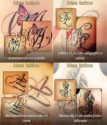 Esempi di disegni artistici con lettere intrecciate