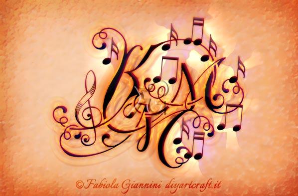 Note musicali e chiave di violino circondano lettere nascoste KMM