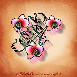 Trionfo di orchidee sullo stemma  AGP ideale nel tattoo unisex con lettere nascoste