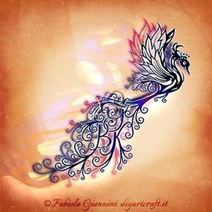 La coda della leggendaria Araba fenice contiene le lettere stilizzate KBS per un tattoo fantasioso