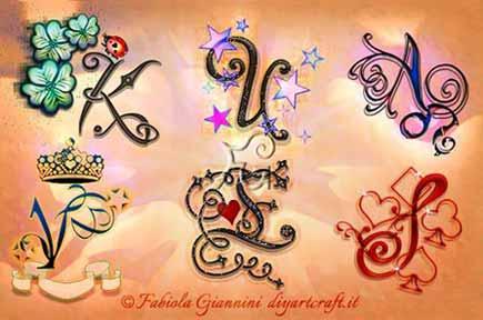 6 singole maiuscole stilizzate con simboli