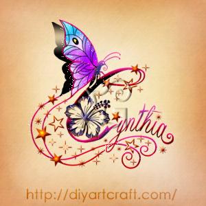Nome decorativo Cynthia disegno a colori con fiori di hibiscus, stelle e farfalla stile elegante.