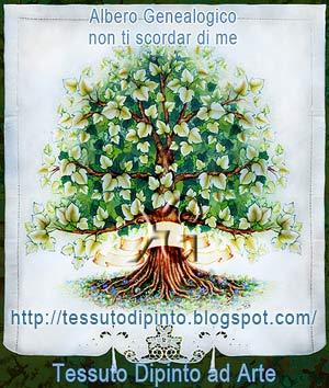 Albero genealogico dipinto a mano su tessuto naturale, con pennarelli indelebili.