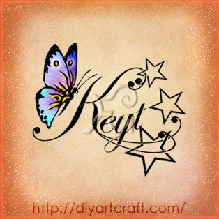 Nome femminile Keyt in corsivo con stelle e farfalla a colori stile elegante