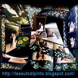 Pittura a mano libera sulle pagine di un album di fotografie di matrimonio. Collage di decorazioni floreali su cartoncino nero.