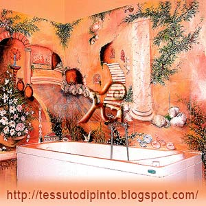 Decorazione murale figurativa eseguita sulle pareti di una vasca idromassaggio.