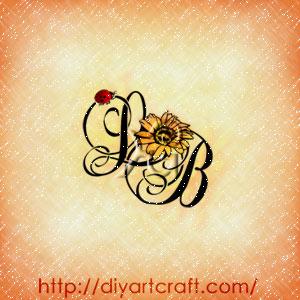 Girasole e coccinella decorano il monogramma con maiuscole corsive LB composizione a colori.