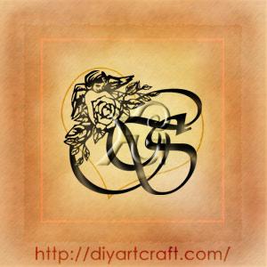 Rosa e angelo stilizzati sulle maiuscole intrecciate SC composizione monocroma per tattoo.